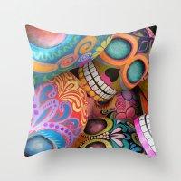 sugar skulls Throw Pillows featuring sugar skulls by wet yeti