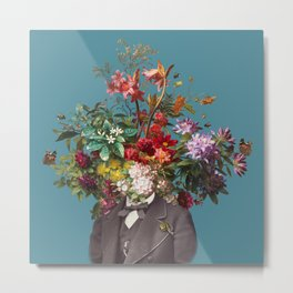 Self-portrait with flowers, butterflies and bees Metal Print
