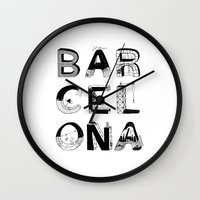 barcelona Wall Clocks featuring Barcelona by Anita Dinamita
