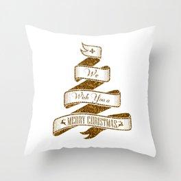 Merry Christmas- Glitter Gold Xmas Typography Throw Pillow