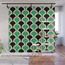 Classic Fan or Scallop Pattern 447 Black and Green Wall Mural