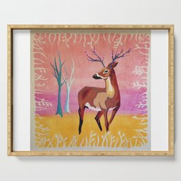 Floral Deer Acrylic Painting Serving Tray