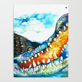Crocodile Watercolor Painting Poster