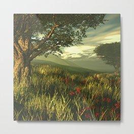 Summer tree in a poppy field Metal Print