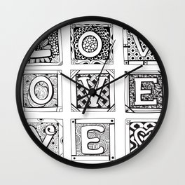 Love - Doodled cards with letters Wall Clock