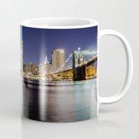 brooklyn bridge Mugs featuring Brooklyn Bridge by Gunjan Marwah