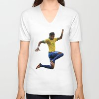 neymar V-neck T-shirts featuring World Cup - Brazil - Neymar by DanielHonick
