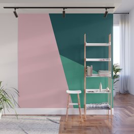 Geometric design in pink & green Wall Mural