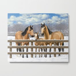 Buckskin Quarter Horses In Snow Metal Print