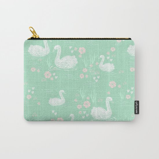Swans painting cute girly trend cell phone case with swans pattern florals hand painted mint Carry-All Pouch