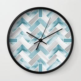 Parquetry in Watercolour - Powder Blue Wall Clock