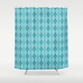 Textured Argyle in Blues Shower Curtain
