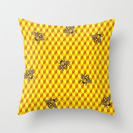 Bee Gold Throw Pillow