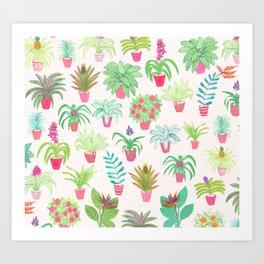 Tropical Houseplants Art Print