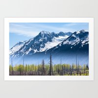 Snowy Mountains and Forest in the Fog, Alaska Art Print