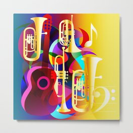 Colorful music instruments with guitar, trumpet, musical notes, bass clef and abstract decor Metal Print