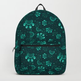 Paw print seamless pattern  in gren color Backpack