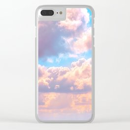 Beautiful Pink Cotton Candy Clouds Against Baby Blue Sky Fairytale Magical Sky Clear iPhone Case
