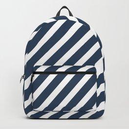 Navy Blue Diagonal Stripes Backpack