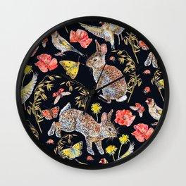 Bunny Meadow Pattern - Dark Wall Clock