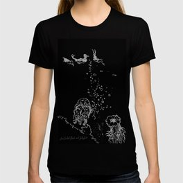 Two Tailed Duck and Jellyfish Black and Dark Deep Sea T-shirt
