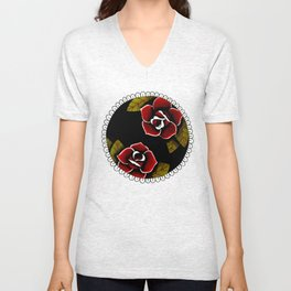 American Traditional Roses Unisex V-Neck