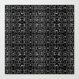 Black and White Ethnic Ornate Pattern Canvas Print