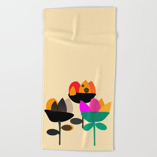 Three Flowers Beach Towel