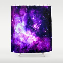 Purple Galaxy : Celestial Fireworks Shower Curtain