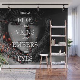 She has fire in her veins and embers in her eyes Wall Mural