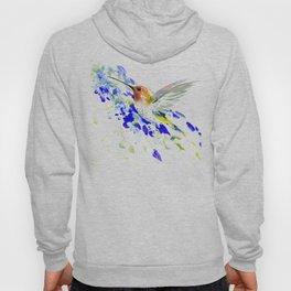 Hummingbird and Blue Flowers Hoody