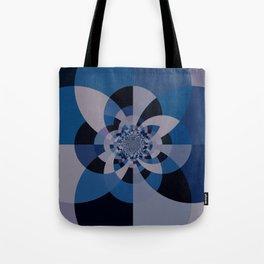 Shades of Blue & Gray Kaleidoscope Mandala Tote Bag