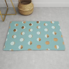 The Lunar Cycle • Phases of the Moon – Copper & Robin's Egg Blue Palette Rug