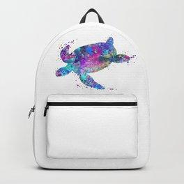 Sea Turtle Art Colorful Blue Purple Watercolor Gift Turtles Art Gift Ocean Life Decor Backpack