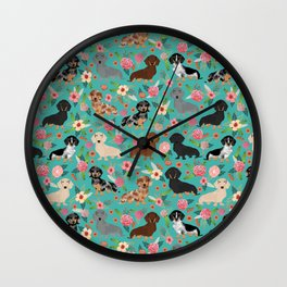 Dachshund florals flower pet portrait dog art dachsie doxie pet art dog breeds Wall Clock