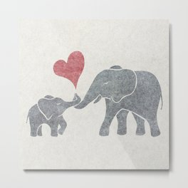 Elephant Hugs with Heart in Muted Gray and Red Metal Print
