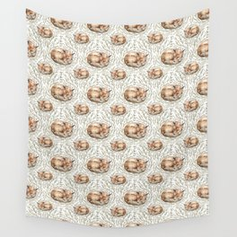 Sleeping foxes with leaves Wall Tapestry
