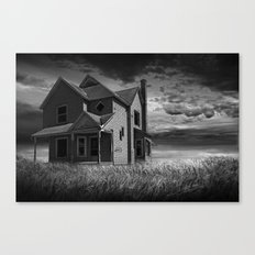 Abandoned Farm House at Sunset in Black & White Canvas Print