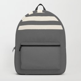 Grey Solid with Treble Ivory Stripes Minimalist Color Block Pattern Backpack