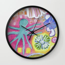 Blue Octopus and white Knight Wall Clock