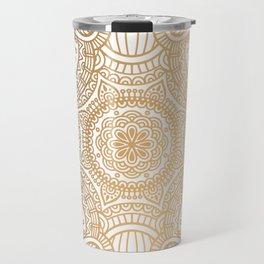 Gold Ethnic Pattern With Mandalas Travel Mug