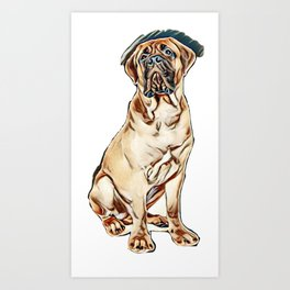 red puppy bullmastiff sitting on a white background, isolated. dog 7 months old        - Image Art Print