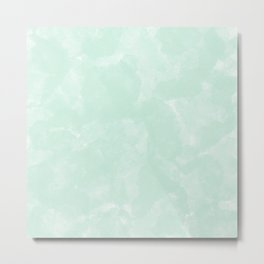 Mint green white modern abstract watercolor pattern Metal Print