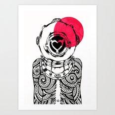 Yakuza Diver from Japan Art Print