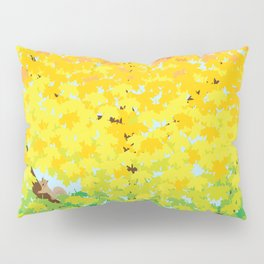 Cute Squirrel in Ombre Maple Tree in Autumn Illustration Pillow Sham