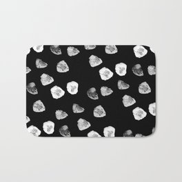 Abstract black and white watercolor polka dots Bath Mat