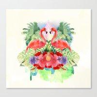 flamingo Canvas Prints featuring Flamingo by Kangarui by Rui Stalph