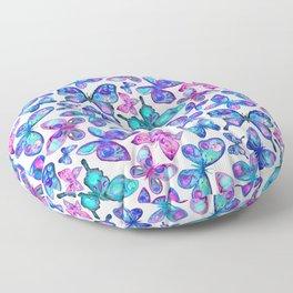 Watercolor Fruit Patterned Butterflies - aqua and sapphire Floor Pillow