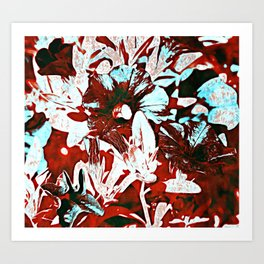 Red, White, and Blue Floral Abstract Art Print