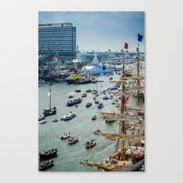 Sailing boats during the SAIL 2015 event in Amsterdam Canvas Print